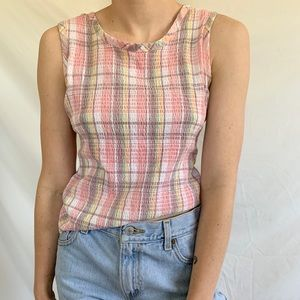 Vintage 90s 1990s Pastel Ribbed Plaid Tank Top